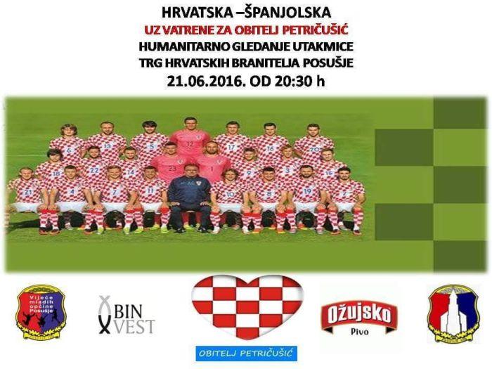 POSUŠJE: Humanitarno gledanje utakmice Hrvatska-Španjolska za obitelj Petričušić