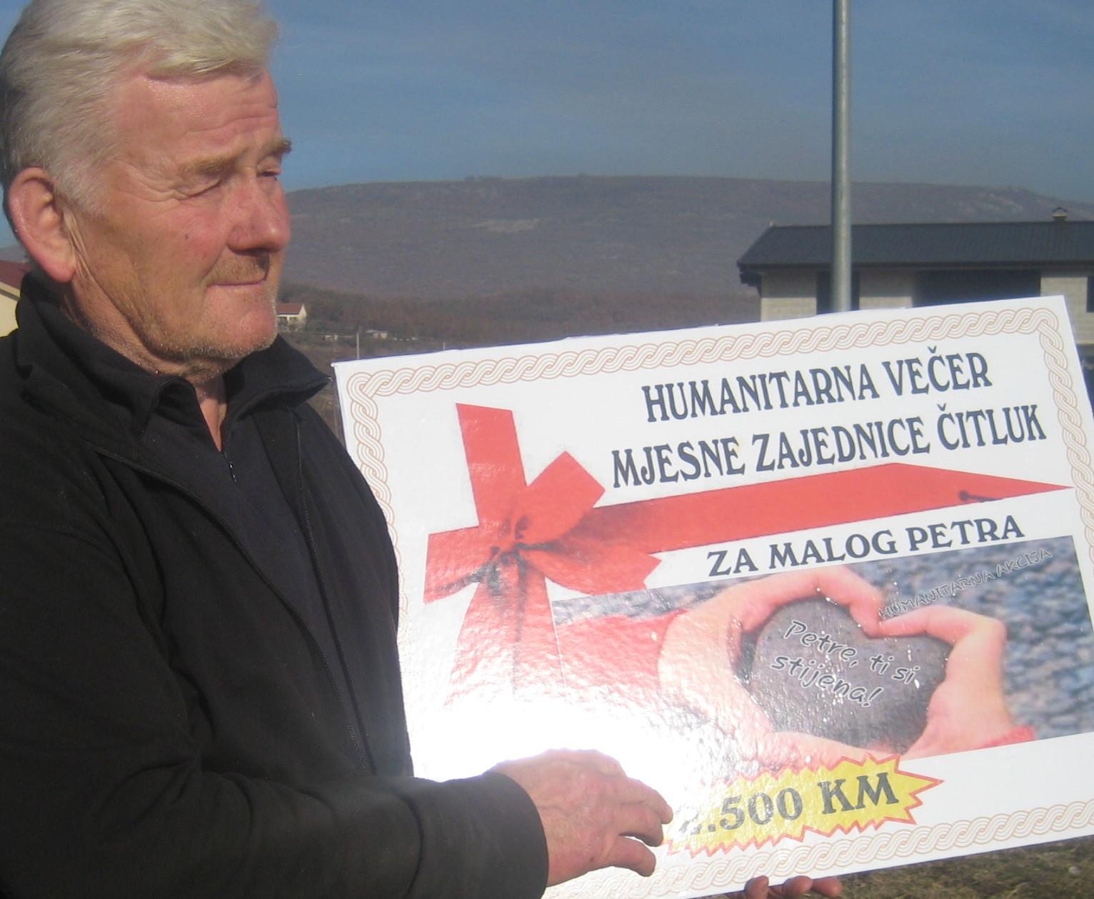 MZ ČITLUK: Dobri ljudi za malog Petra prikupili 2 500 KM