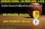 KK Posušja i SKK Student: Derbi utakmica dvije prvoplasirane momčadi prvenstva