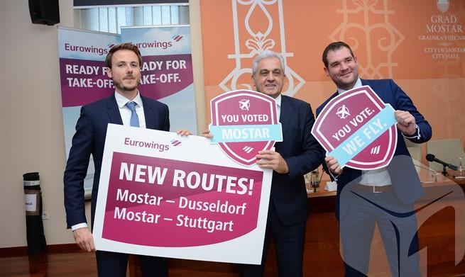 Eurowings iz Mostara počinje letjeti 16. svibnja za Dusseldorf i Stuttgart