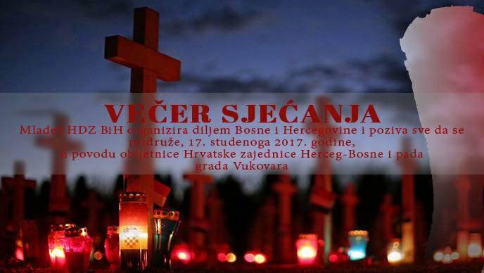 Večer sjećanja na žrtvu Vukovara i obljetnicu uspostave Hrvatske zajednice HB