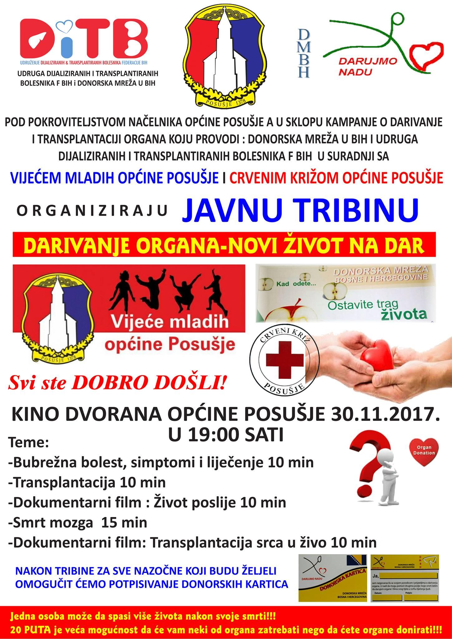 Posušje: javna tribina o mogućnosti doniranja organa