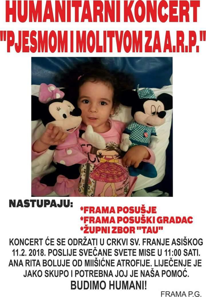 POSUŠKI GRADAC: Framaši organiziraju humanitarni koncert za Anu-Ritu Puljić