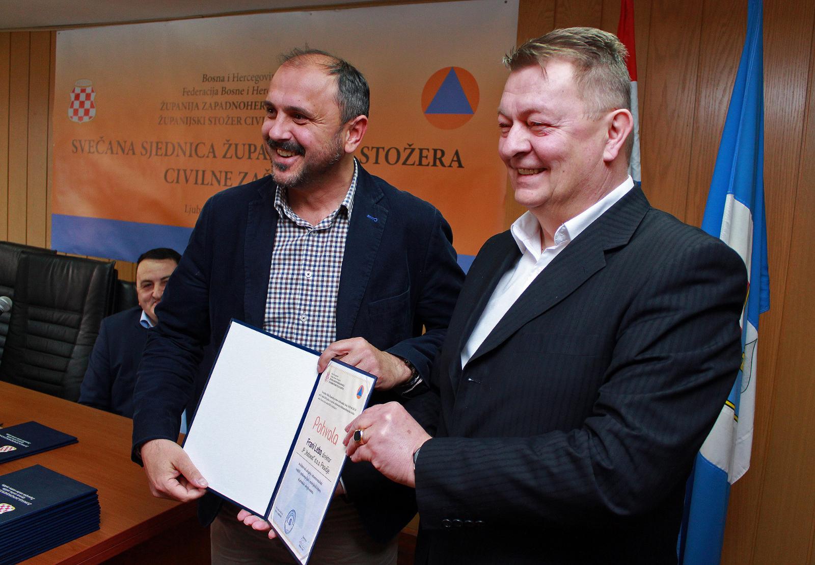 Priznanje posuškom Vodovodu za doprinos sustavu civilne zaštite