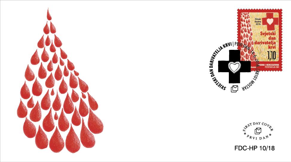 """Hrvatska pošta (HP) Mostar tiskala je prigodnu poštansku marku u povodu """"Svjetskoga dana darivatelja krvi"""""""