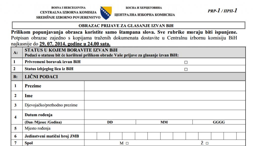 Sutra u ponoć ističe rok za podnošenje prijava za glasanje izvan BiH
