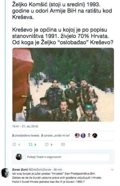 Od koga je Hrvat Komšić branio hrvatsko Kreševo u odori Armije BIH?