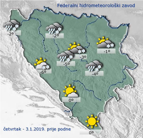 VRIJEME: U Posušju puše jaka bura, u Bosni snijeg