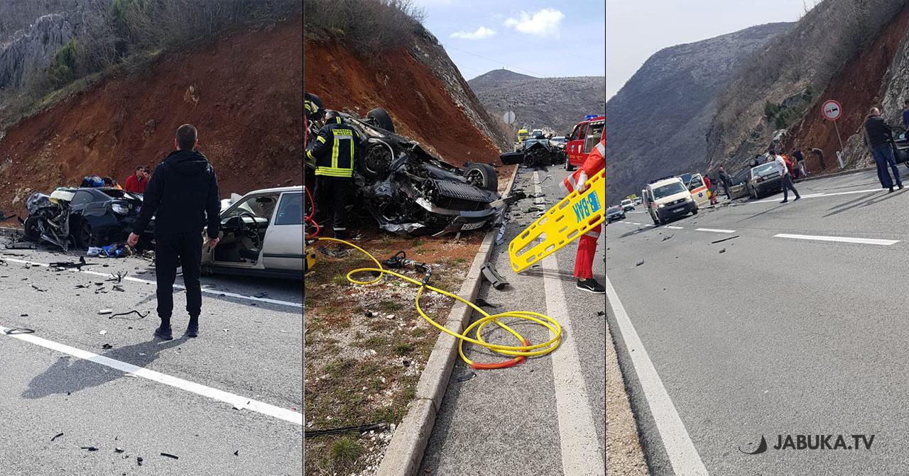 Veliki sudar na Žovnici, obustava prometa, više osoba teško ozlijeđeno