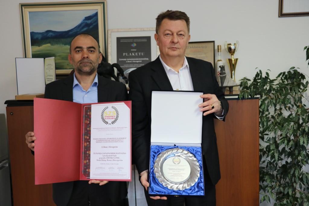 """Županija Zapadnohercegovačka dobitnik nagrade i priznanja """"Stvaratelji za stoljeća"""""""