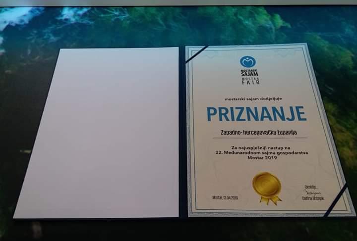 Prepoznat trud posuških predstavljača na Međunarodnom sajmu u Mostaru